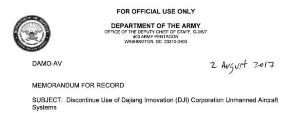 запрет на использование дронов DJI