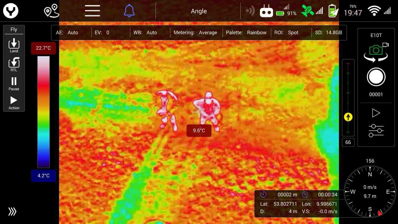 тепловизионная съемка камерой Yuneec E10T 50° 10m rainbow